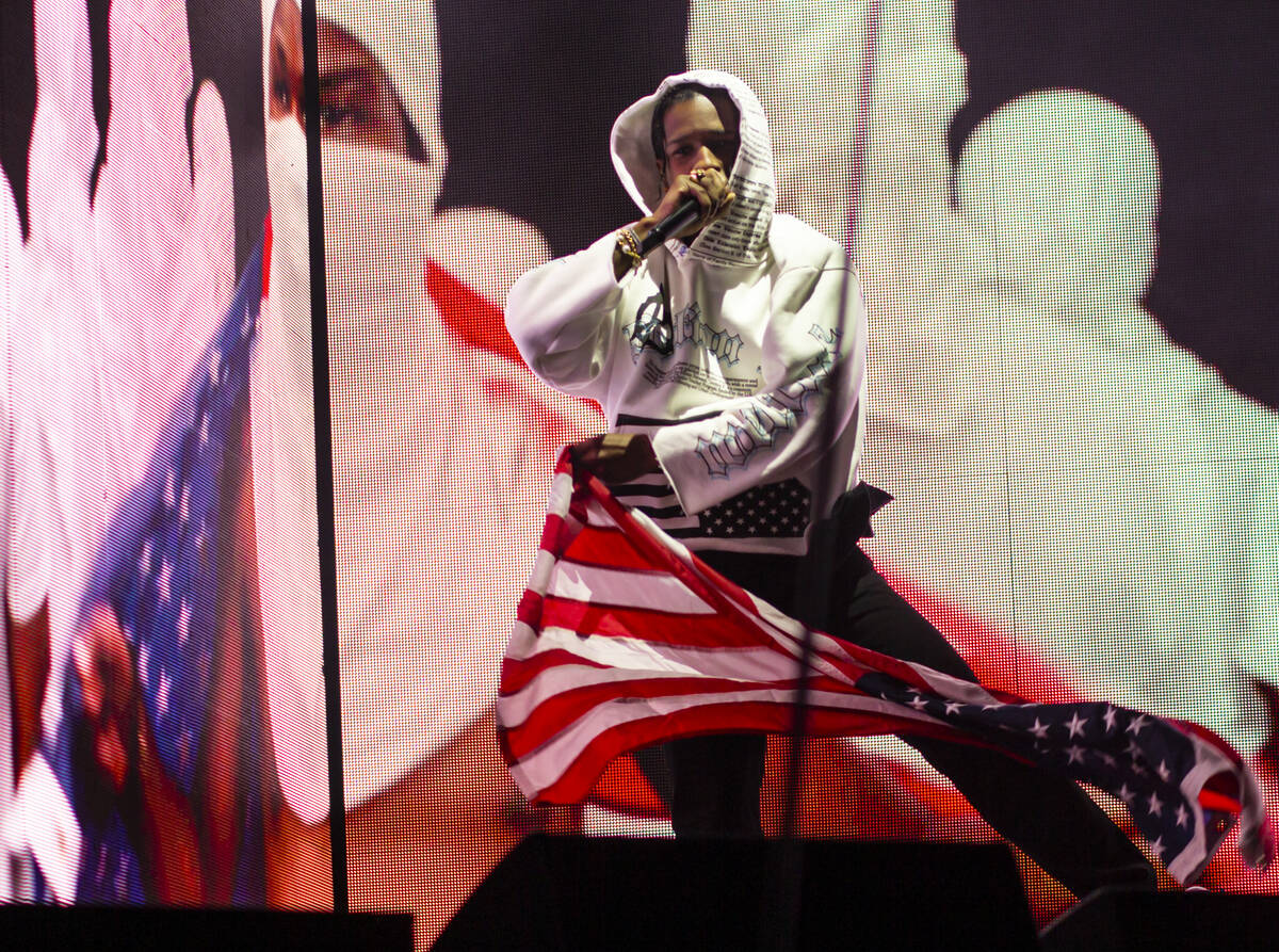 ASAP Rocky performs astatine  the Bacardi signifier    during the last  time  of the Life is Beautiful festival ...