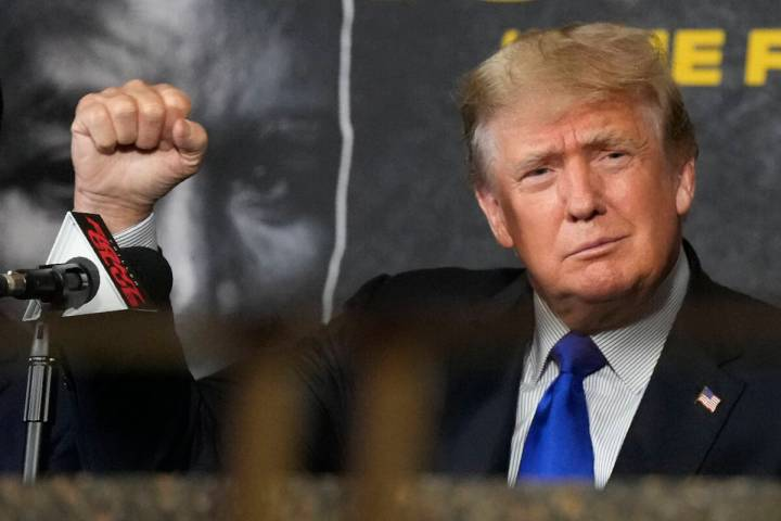 Former President Donald Trump is shown Saturday, Sept. 11, 2021, in Hollywood, Fla. (AP Photo/R ...