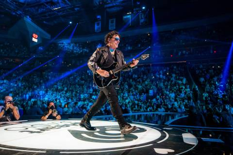 Neal Schon of Journey performs during the 2021 iHeartRadio Music Festival at T-Mobile Arena on ...