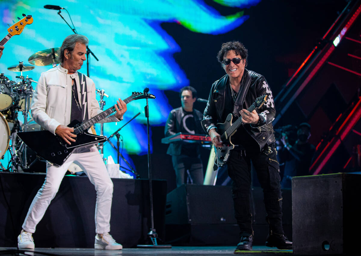 Jonathan Cain and Neal Schon of Journey perform during the 2021 iHeartRadio Music Festival at T ...