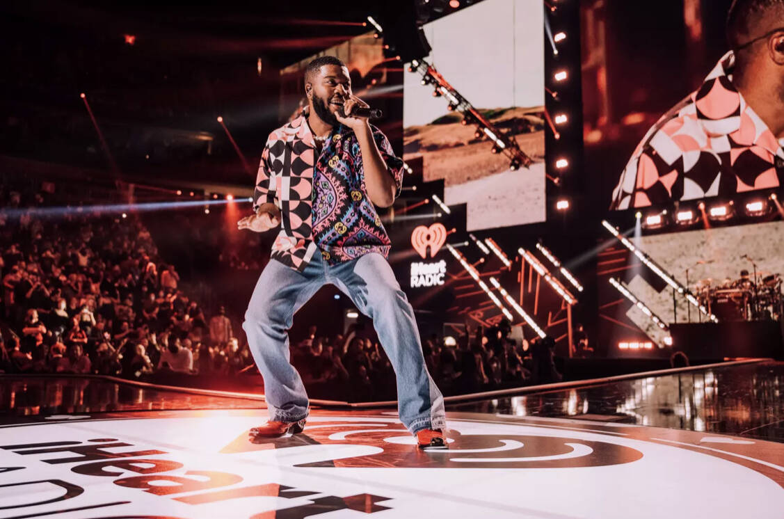 Khalid performs during the 2021 iHeartRadio Music Festival at T-Mobile Arena on Saturday, Sept. ...