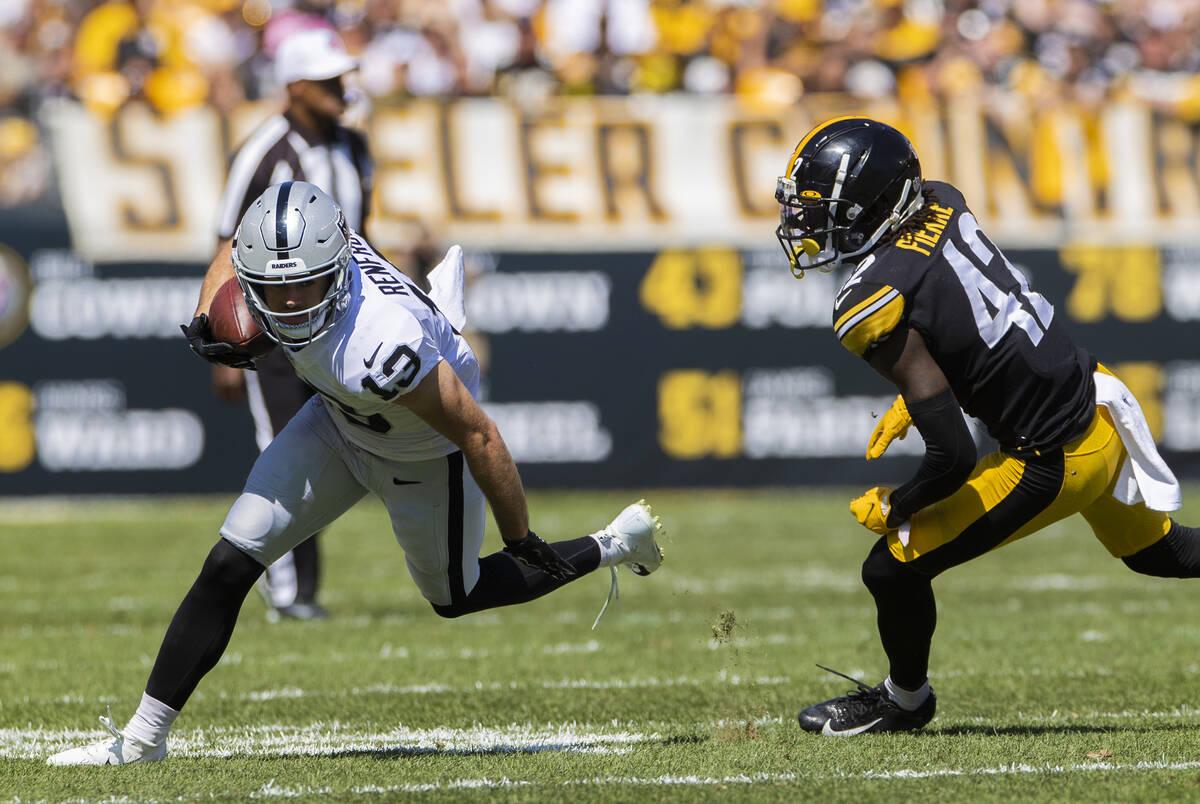 Raiders wide receiver Hunter Renfrow (13) breaks up field past Pittsburgh Steelers cornerback J ...
