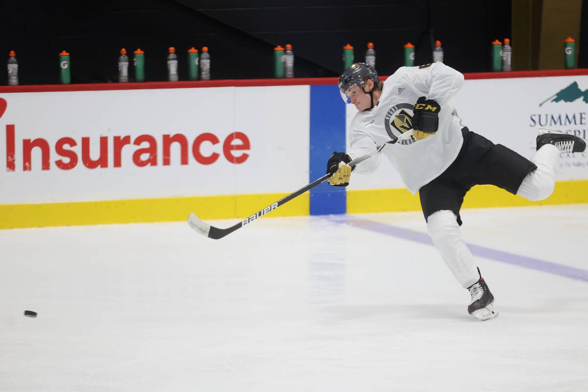 Vegas Golden Knights' Kaedan Korczak (6) participates during rookie camp at City National Arena ...