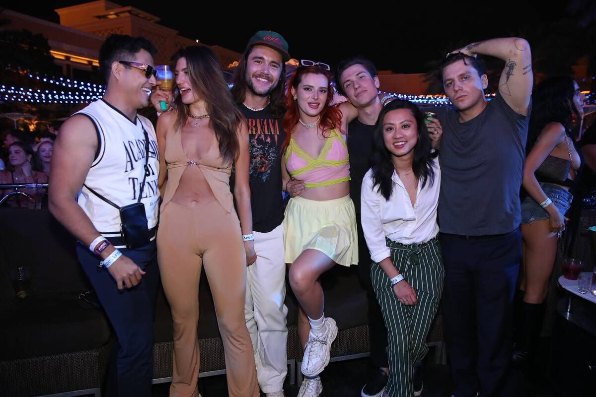 Actress, Bella Thorne is shown with a requisite entourage at XS Nightclub at Wynn Las Vegas on ...