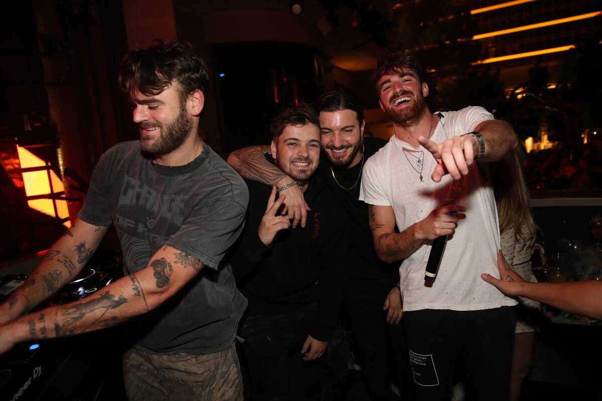 The Chainsmokers, Alesso and Martin Garrix party at XS Nightclub at Wynn Las Vegas on Saturday, ...