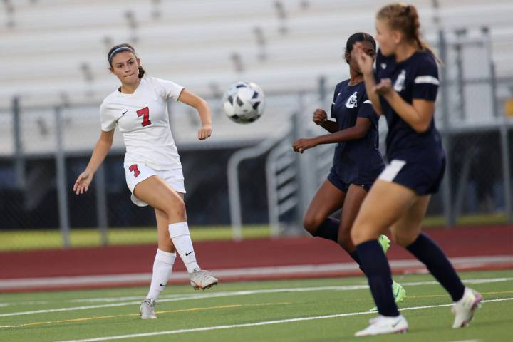 Coronado's Alexis Pashales (7) shoots the ball for a score during the second half of a girl's s ...