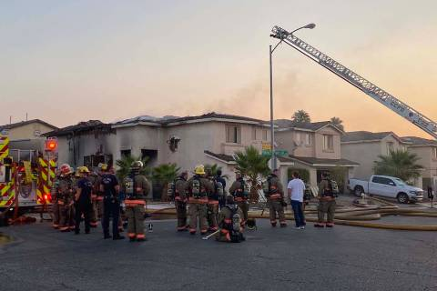 Fire caused heavy damage to a home in the western Las Vegas Valley early Monday. (Glenn Puit / ...