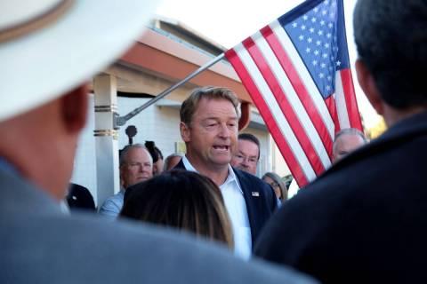 Former GOP Sen. Dean Heller speaks to supporters well-wishers outside Carson City GOP headquart ...