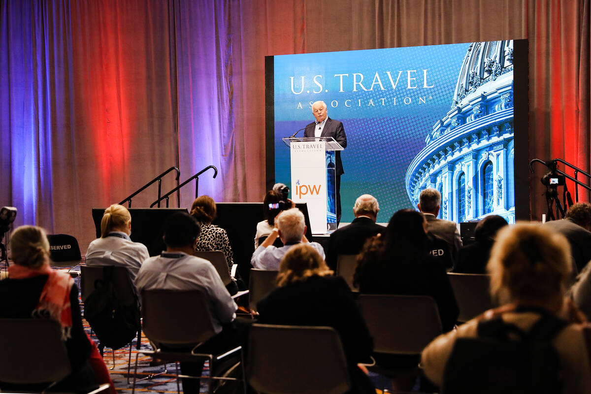 Roger Dow, president and CEO of the U.S. Travel Association, addresses attendees at the IPW int ...
