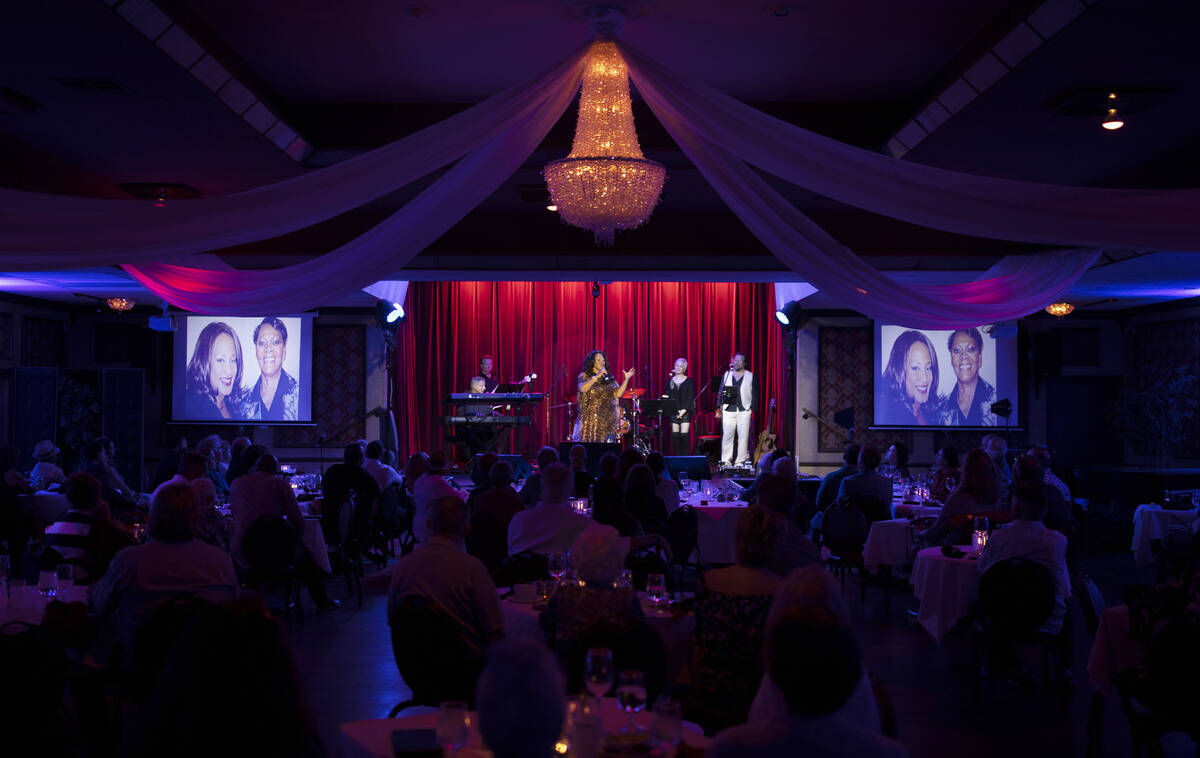 """Michelle Johnson, middle, known as """"Las Vegas' First Lady of Jazz,"""" performs at t ..."""