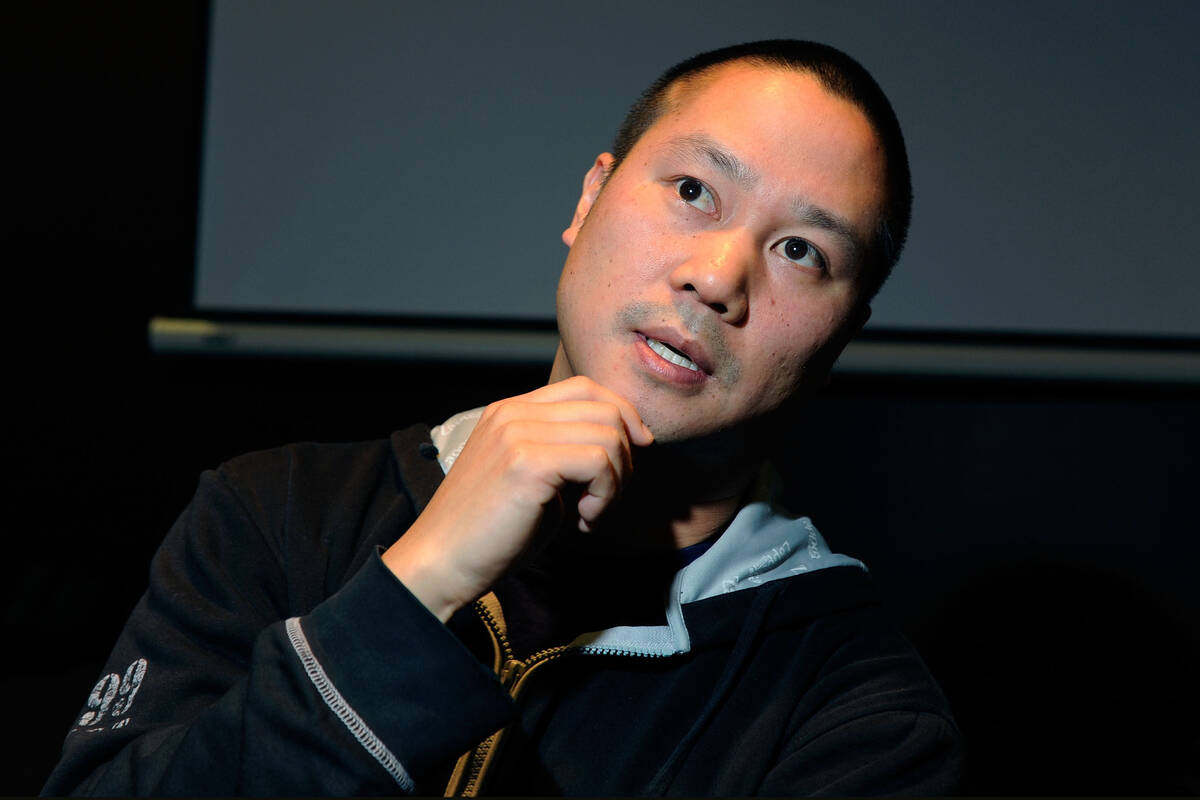 In this Jan. 28, 2012, file photo, Zappos CEO Tony Hsieh gestures during an interview in Las Ve ...
