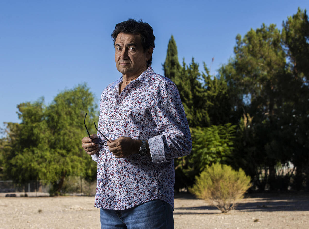 Biagio Guerra outside his home in Las Vegas on Tuesday, Sept. 21, 2021. Guerra is one of a grou ...
