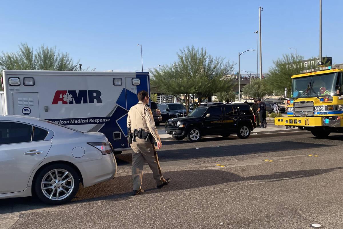 Las Vegas police investigate a hit-and-run crash near Allegiant Stadium on Saturday, Aug. 14, 2 ...