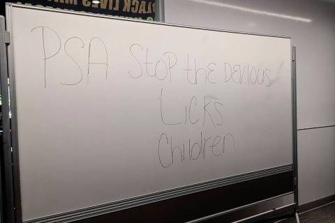 In this Sept. 16, 2021 photo courtesy of Cuyler Dunn shows a message on a white board at Lawren ...