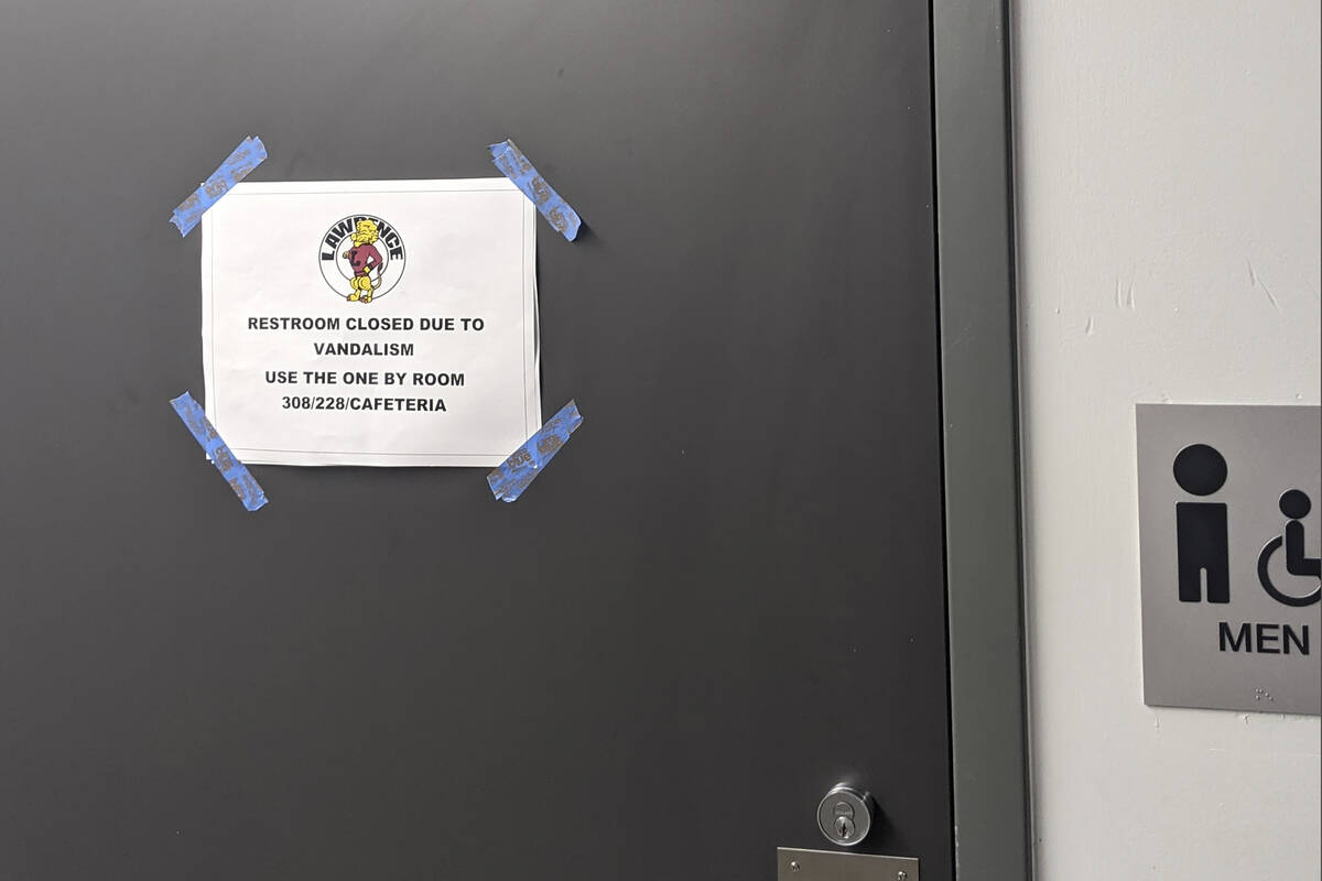 In this Friday, Sept. 17, 2021 courtesy of Cuyler Dunn shows a sign on a closed restroom at Law ...