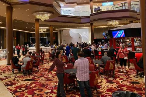 Republicans meet at the Ahern Hotel in Las Vegas on Tuesday, Sept. 21, 2021. (Blake Apgar/Las V ...
