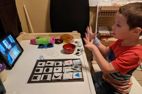 Fox Salzman participates in a preschool class through Culley Elementary School in Las Vegas dur ...