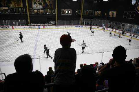 Fans watch a Vegas Golden Knights scrimmage at City National Arena in Las Vegas, Friday, Sept. ...