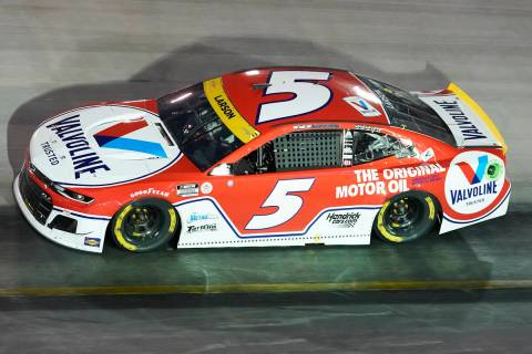 Kyle Larson competes during a NASCAR Cup Series auto race at Bristol Motor Speedway Saturday, S ...