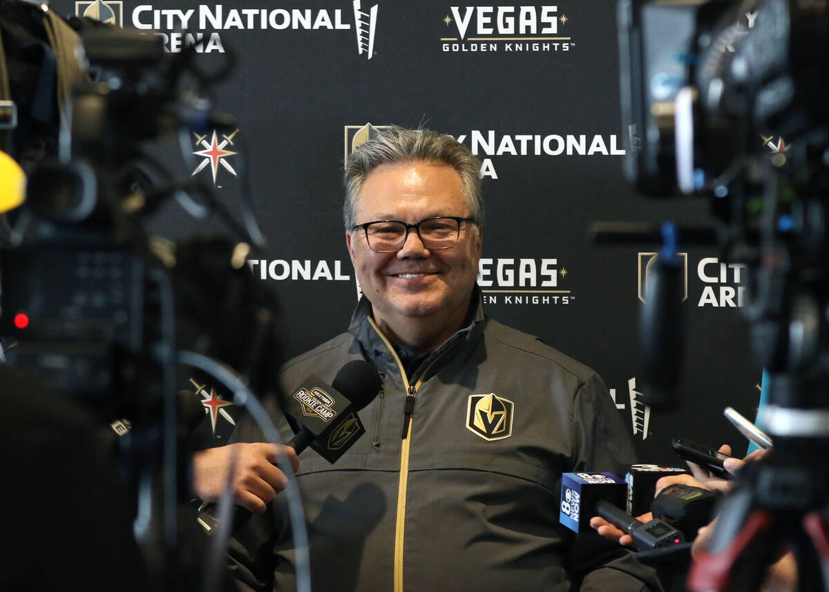 Kelly McCrimmon, Golden Knights general manager, smiles as he speaks to the media at City Natio ...