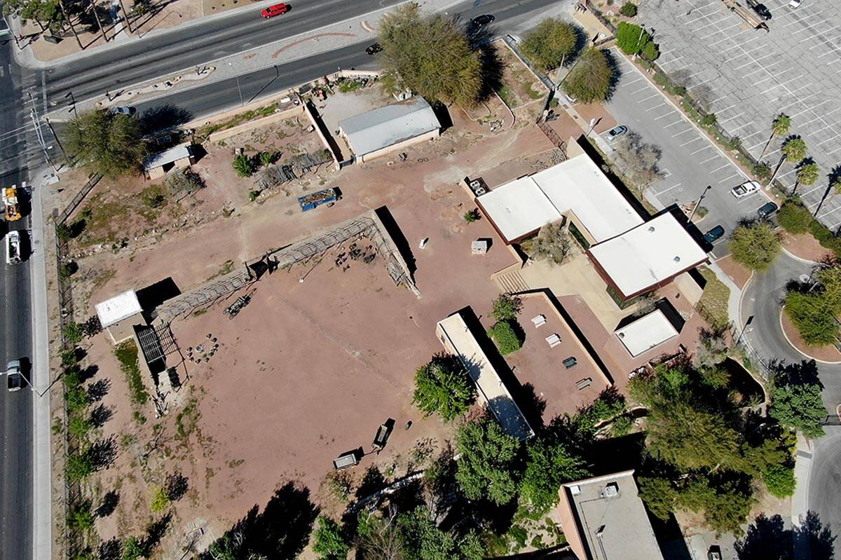An aerial view of the Old Las Vegas Mormon Fort, the first permanent, non-native settlement in ...
