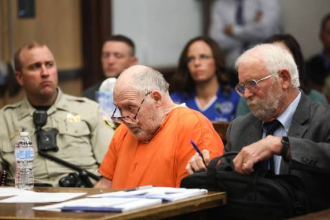 John Dabritz, center, waits during his sentencing hearing next to his attorney, Richard Sears, ...