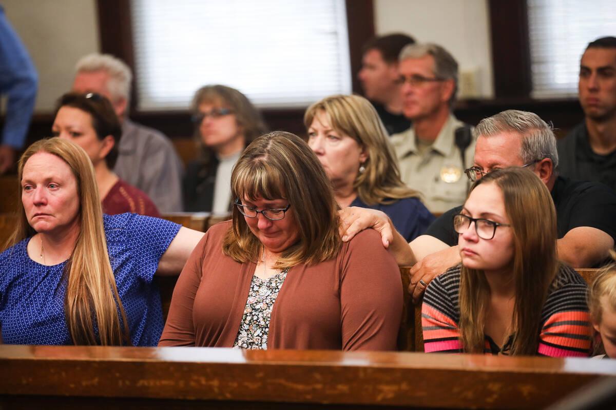 Jodi Jenkins, wife of slain Nevada Highway Patrol Sgt. Ben Jenkins, reacts to the sentencing of ...