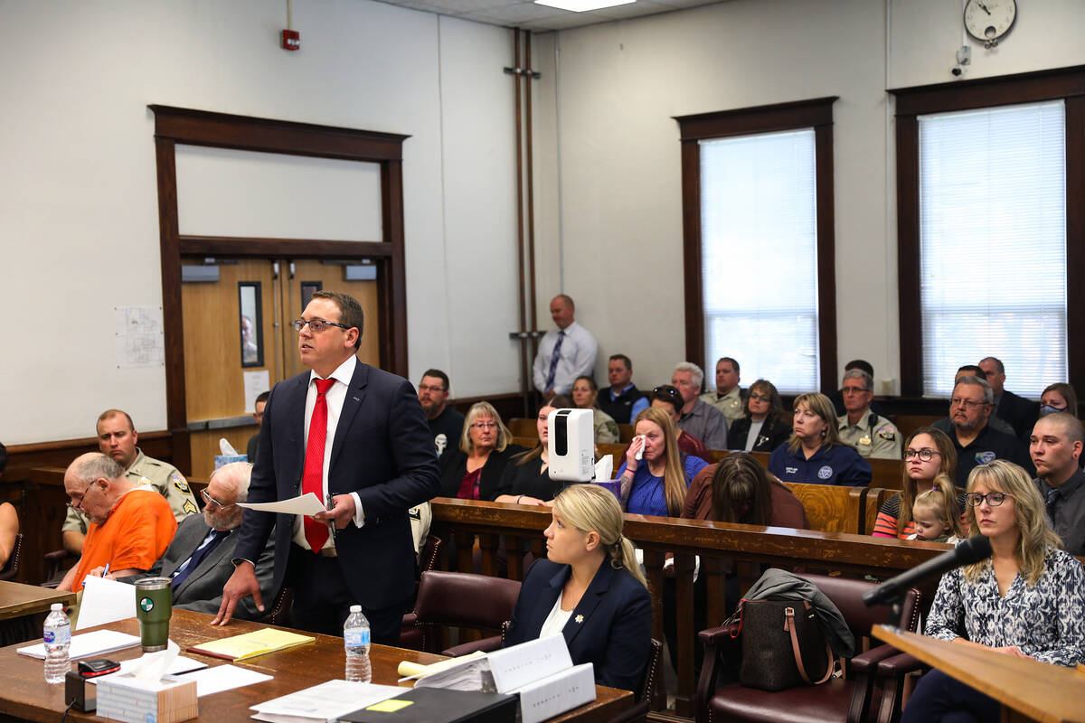 White Pine County Chief Deputy District Attorney James Beecher addresses the court during the s ...