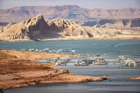 A view of the Wahweap Marina at Lake Powell in the Glen Canyon National Recreation Area on Tues ...