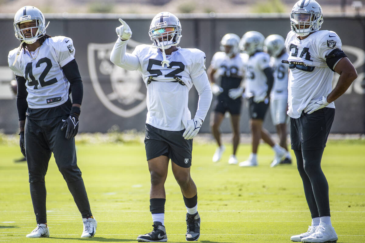 Raiders middle linebacker Denzel Perryman (52) points during practice at the Intermountain Heal ...