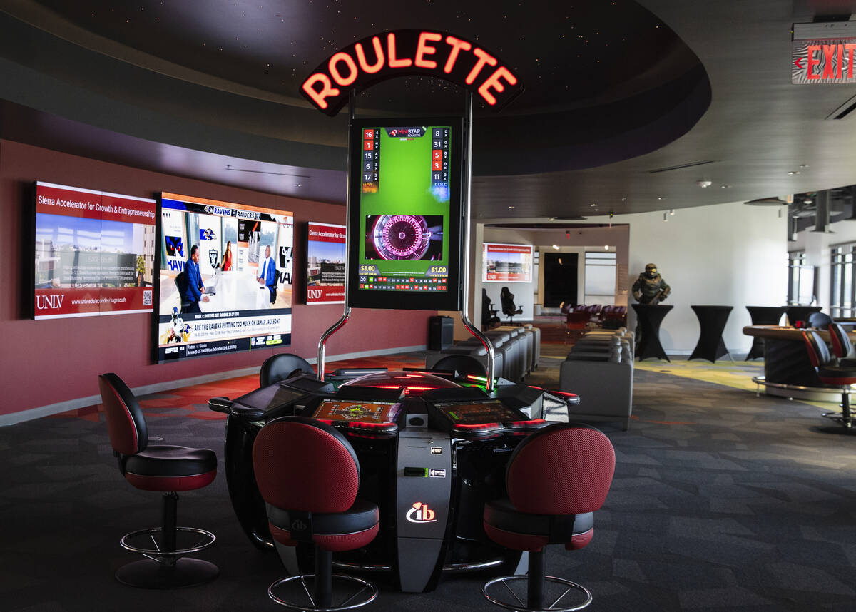 A video roulette machine and a sportsbook area are shown at the Black Fire Innovation center on ...