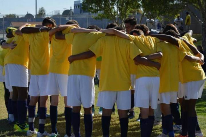 The Shadow Ridge boys soccer team prepares for a game during a past Yellow Out. The school will ...