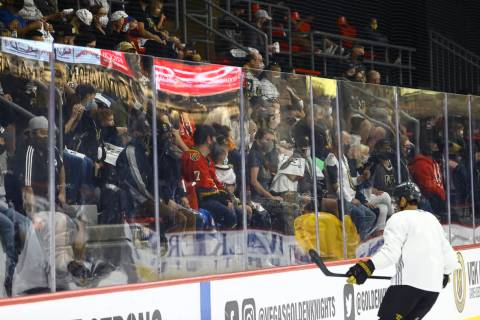 Golden Knights fans watch the action during the first on-ice day of training camp at City Natio ...