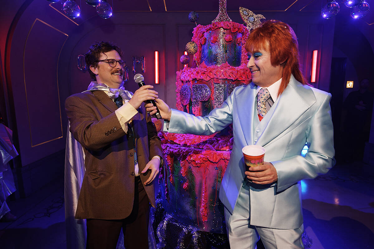 """Harry Howie and Ross Mollison, of Spiegelworld, celebrate the first anniversary of """"Opium"""" at T ..."""