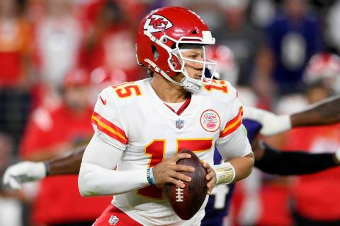 Kansas City Chiefs quarterback Patrick Mahomes (15) in action in the second half of an NFL foot ...