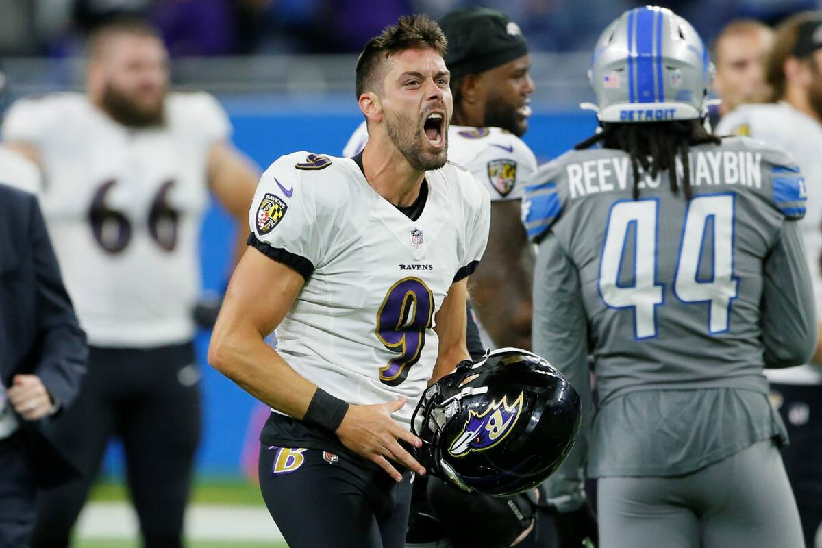 Baltimore Ravens kicker Justin Tucker celebrates after kicking a 66-yard field goal in the seco ...