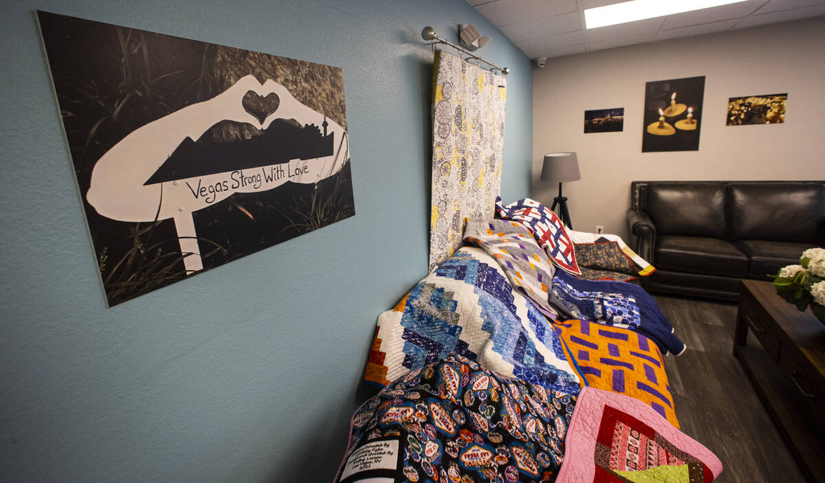Donated quilts that will be given away to survivors, relatives and first responders affected in ...