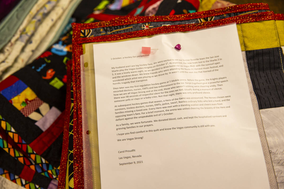 A letter about the Golden Knights is attached with a donated quilt that will be given away to s ...