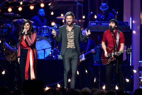 Hillary Scott, from left, Charles Kelley, and Dave Haywood, of Lady Antebellum, perform at the ...