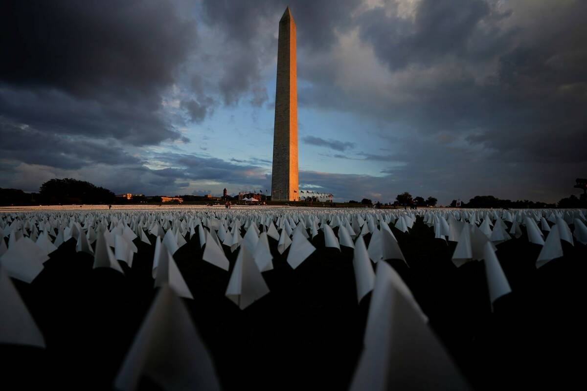 With the Washington Monument in the background, white flags are displays as part of artist Suza ...