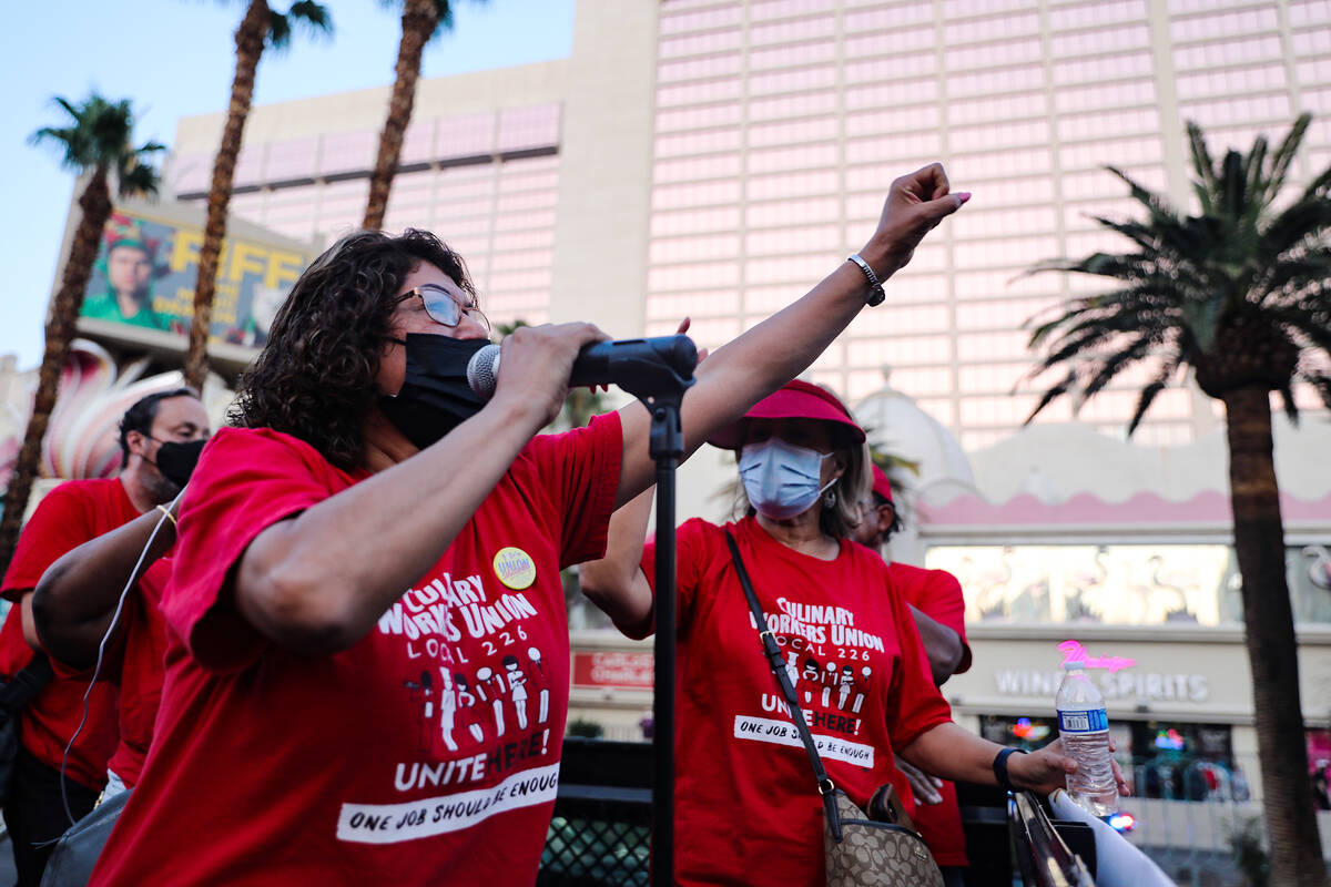 Adela Montes de Oca addresses the crowd of Culinary Workers Union Local 226 members after they ...