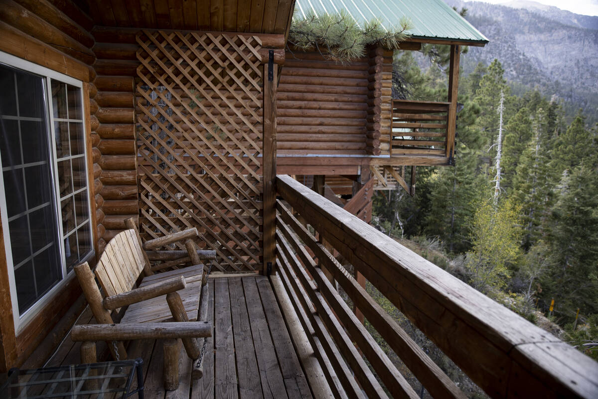 The balcony of a cabin at the Mt. Charleston Lodge in Las Vegas, Friday, Sept. 24, 2021. (Erik ...