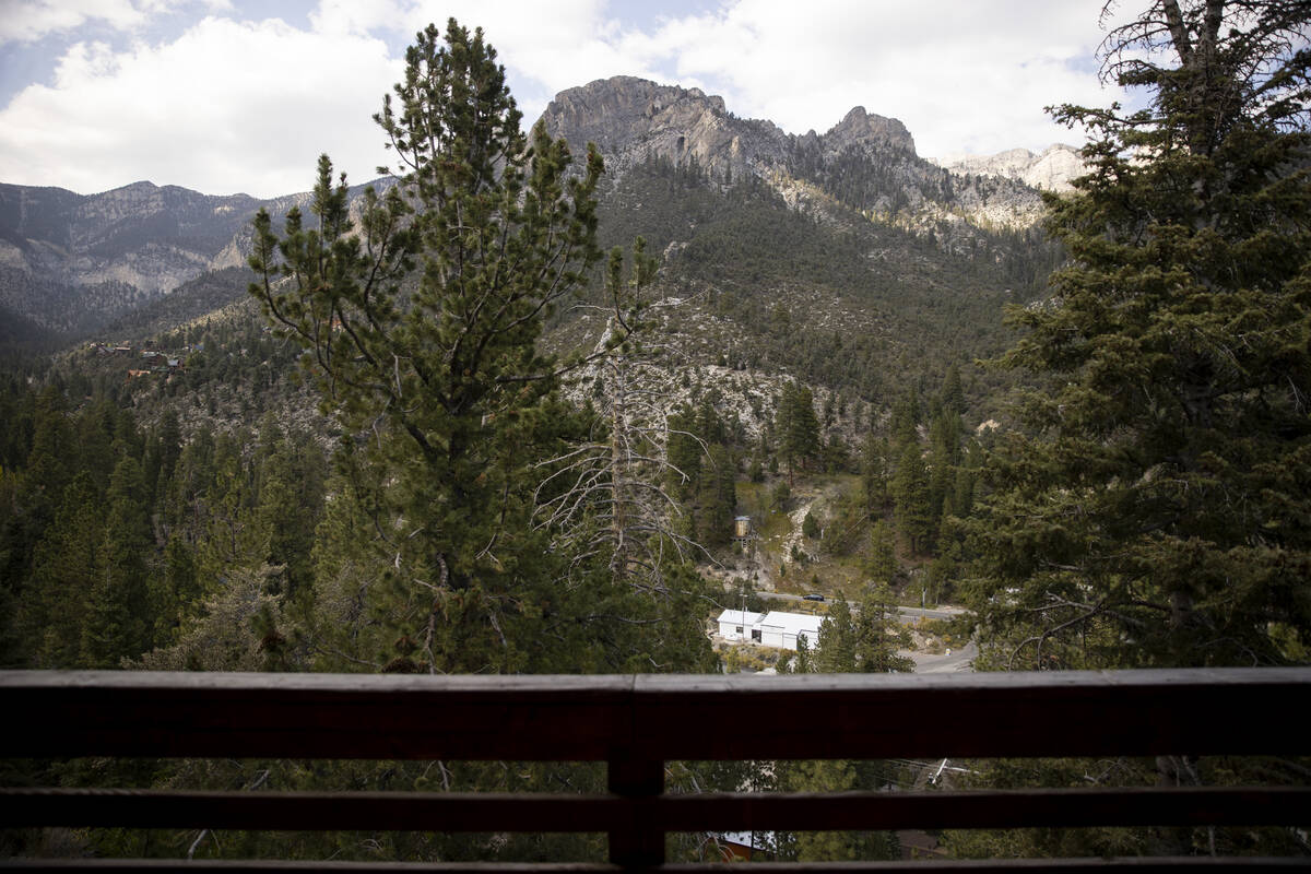 The balcony view of a cabin at the Mt. Charleston Lodge in Las Vegas, Friday, Sept. 24, 2021. ( ...