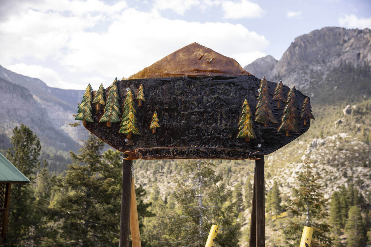 A sign for the Mt. Charleston Lodge in Las Vegas is seen on Friday, Sept. 24, 2021. (Erik Verdu ...