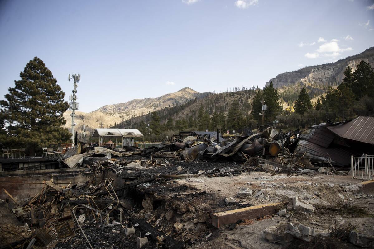 The burned down Mt. Charleston Lodge in Las Vegas is seen on Friday, Sept. 24, 2021. (Erik Verd ...