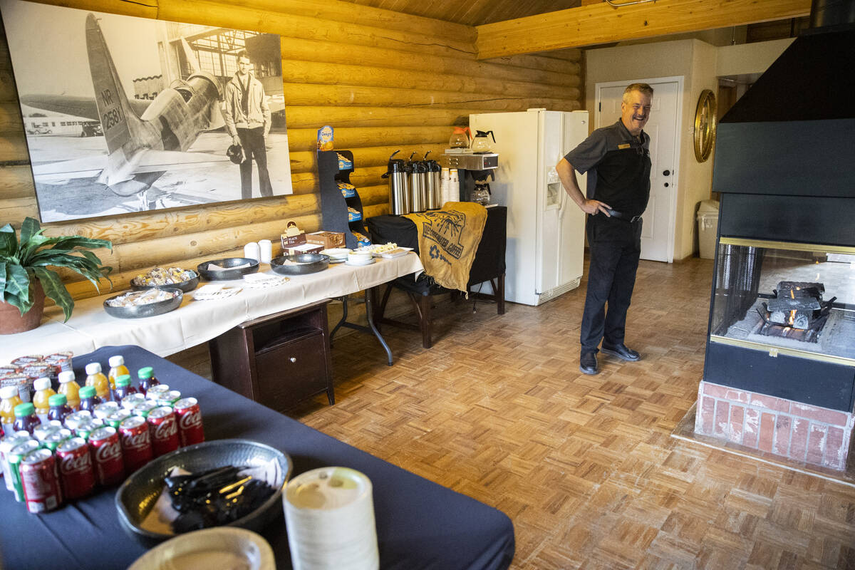 Operations manager Thomas Schnekloth gets ready for guests at the Mt. Charleston Lodge in Las V ...