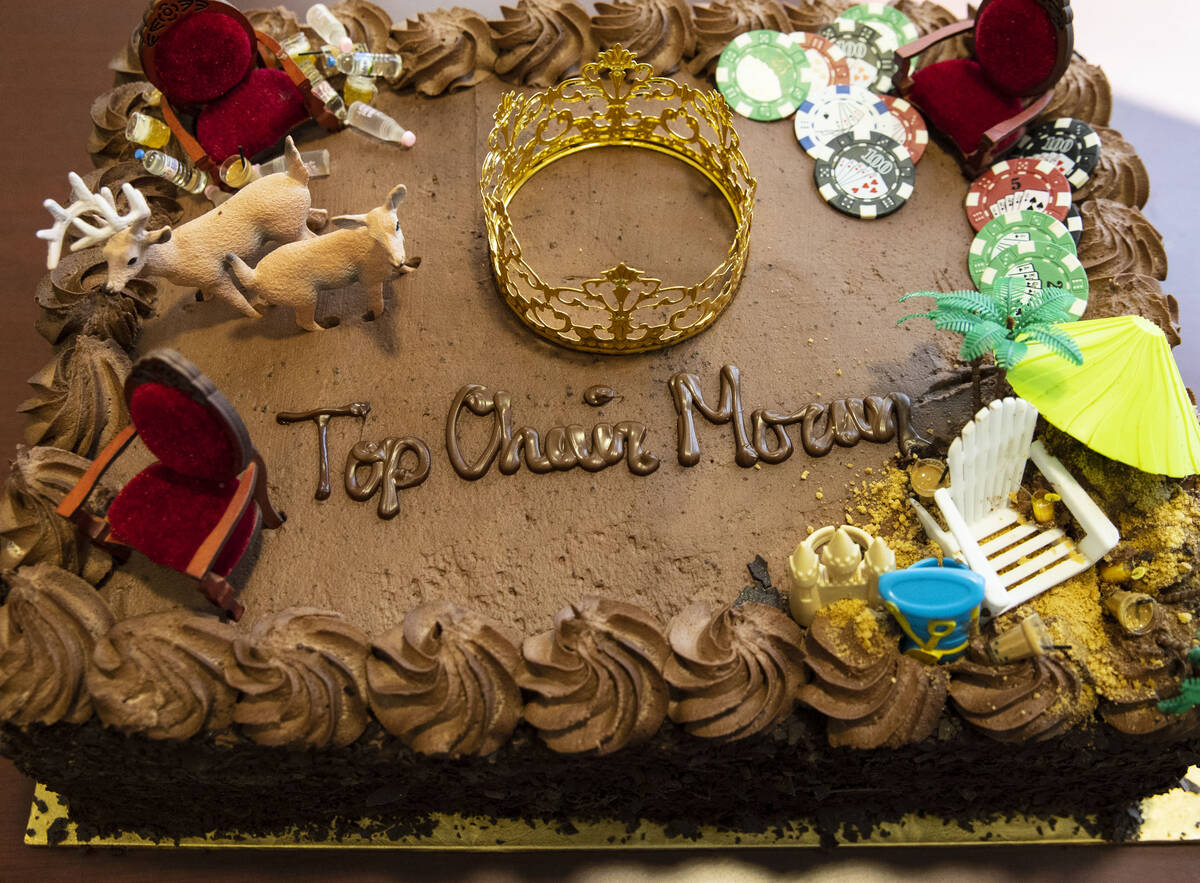 A custom retirement cake for John Moran, chairman of the Nevada Gaming Commission, is displayed ...