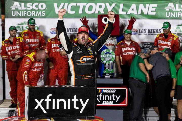 Josh Berry celebrates after winning the Alsco Uniforms 302 NASCAR Xfinity series race on Saturd ...