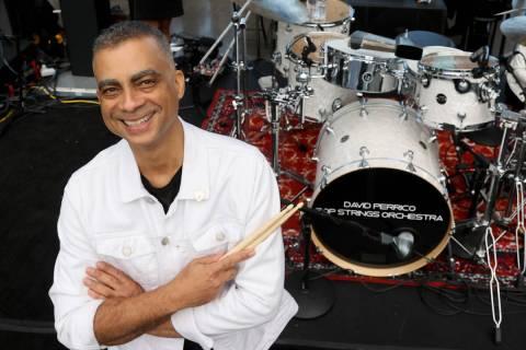 Drummer Pepe Jimenez of the David Perrico Raiders House Band before the Raiders take on the Mia ...