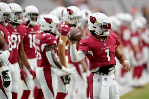 Arizona Cardinals quarterback Kyler Murray (1) warms up prior to an NFL football game against t ...